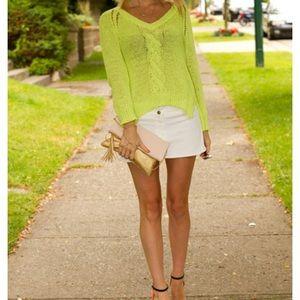 Neon yellow knit v-neck sweater from Zara!